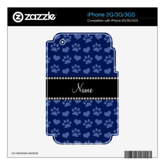 Personalized name navy blue hearts and paw prints decals for iPhone 3GS