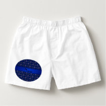 Personalized name navy blue hockey pattern boxers