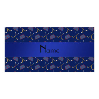 Personalized name navy blue hockey pattern card