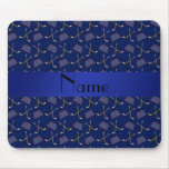Personalized name navy blue hockey pattern mouse pads