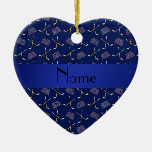 Personalized name navy blue hockey pattern ornament