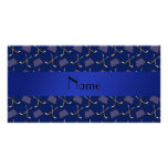 Personalized name navy blue hockey pattern photo card