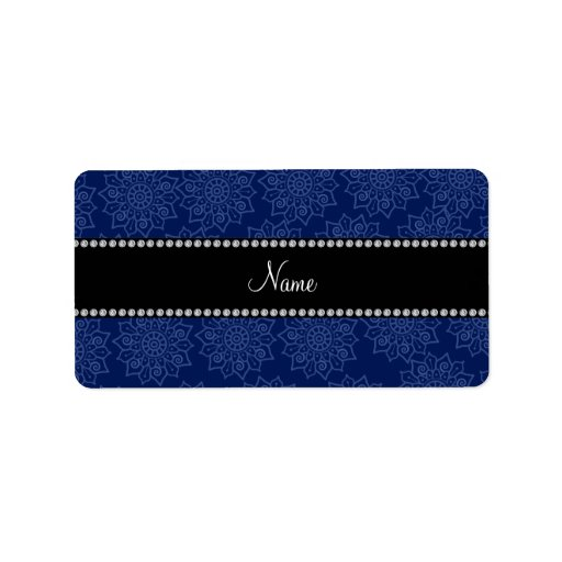 Personalized name navy blue intricate flowers address label
