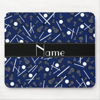 Personalized name navy blue lacrosse mousepad