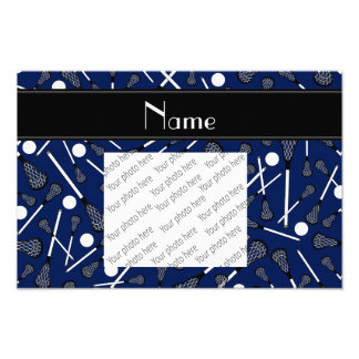Personalized name navy blue lacrosse photograph
