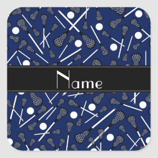Personalized name navy blue lacrosse square sticker