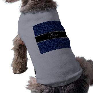 Personalized name navy blue moroccan quatrefoil doggie t-shirt