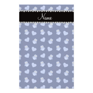 Personalized name navy blue owl hearts stationery design