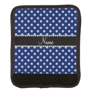 Personalized name navy blue pearls luggage handle wrap