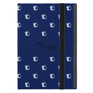 Personalized name navy blue soccer balls cover for iPad mini
