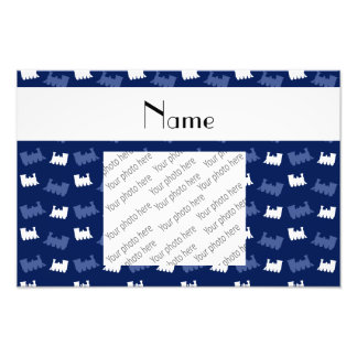 Personalized name navy blue train pattern photo
