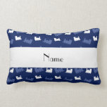 Personalized name navy blue train pattern pillows