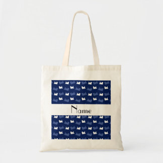 Personalized name navy blue train pattern tote bag