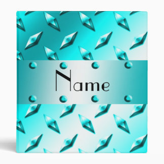 Personalized name neon blue diamond plate steel 3 ring binder