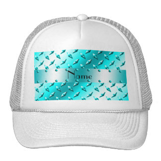 Personalized name neon blue diamond plate steel mesh hat