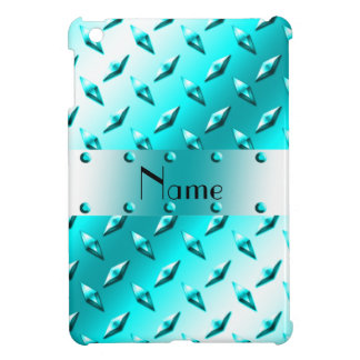 Personalized name neon blue diamond plate steel iPad mini cover
