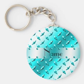 Personalized name neon blue diamond plate steel key chains