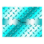 Personalized name neon blue diamond plate steel post card