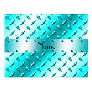 Personalized name neon blue diamond plate steel postcard