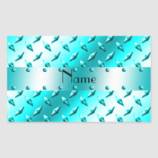 Personalized name neon blue diamond plate steel rectangular sticker