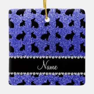 Personalized name neon blue glitter bunny ceramic ornament