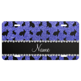 Personalized name neon blue glitter bunny license plate