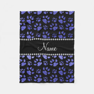 Personalized name neon blue glitter cat paws fleece blanket