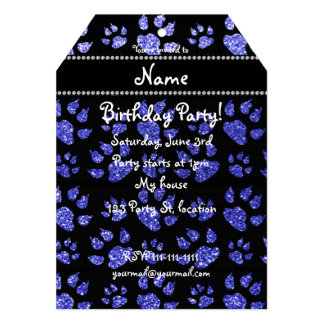Personalized name neon blue glitter cat paws 5x7 paper invitation card