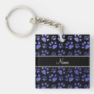 Personalized name neon blue glitter cat paws square acrylic keychain