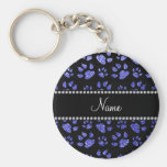 Personalized name neon blue glitter cat paws basic round button keychain