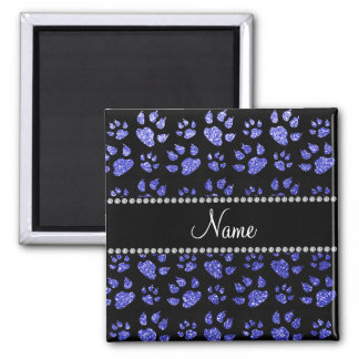 Personalized name neon blue glitter cat paws refrigerator magnet