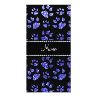 Personalized name neon blue glitter cat paws customized photo card