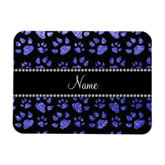 Personalized name neon blue glitter cat paws rectangular magnet