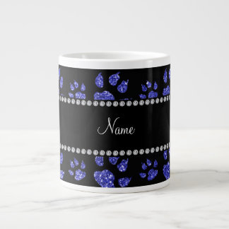 Personalized name neon blue glitter cat paws extra large mug