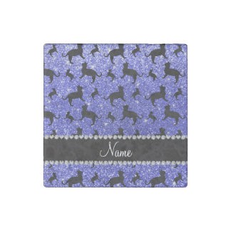 Personalized name neon blue glitter cats stone magnet