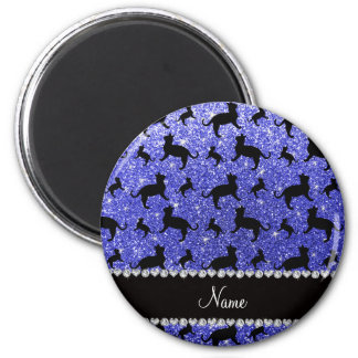 Personalized name neon blue glitter cats magnet