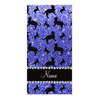 Personalized name neon blue glitter cats photo card template
