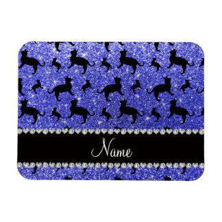 Personalized name neon blue glitter cats magnets
