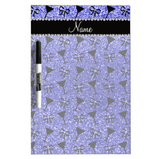 Personalized name neon blue glitter cocktail glas dry erase whiteboards