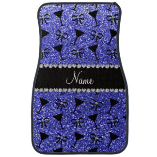 Personalized name neon blue glitter cocktail glass car floor mat
