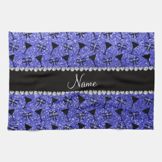 Personalized name neon blue glitter cocktail glass kitchen towels
