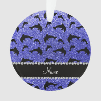 Personalized name neon blue glitter dolphins