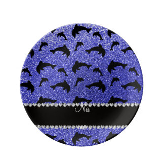 Personalized name neon blue glitter dolphins porcelain plates