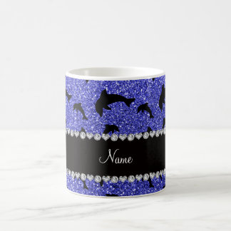 Personalized name neon blue glitter dolphins coffee mugs