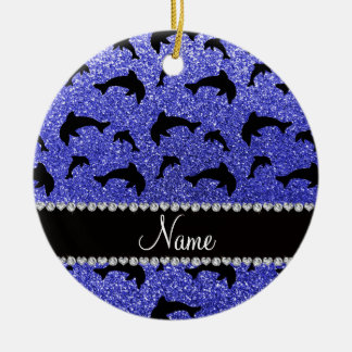 Personalized name neon blue glitter dolphins christmas ornament