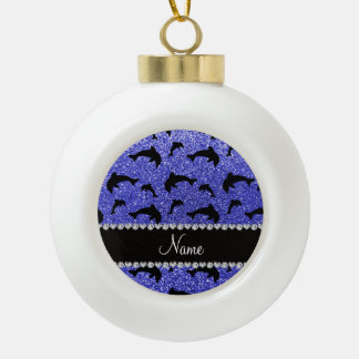 Personalized name neon blue glitter dolphins ornaments