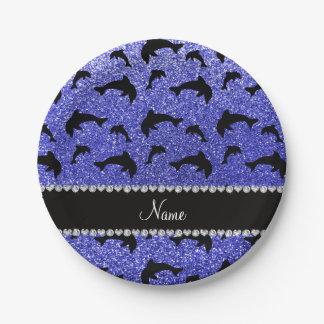 Personalized name neon blue glitter dolphins 7 inch paper plate