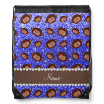 Personalized name neon blue glitter monkeys drawstring backpack