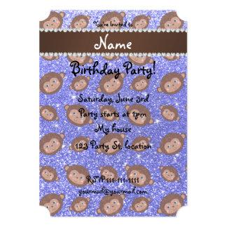 Personalized name neon blue glitter monkeys 5x7 paper invitation card
