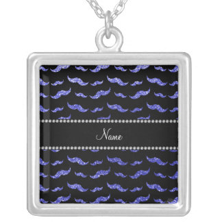 Personalized name neon blue glitter mustaches personalized necklace
